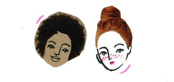 Na ilustracji widać dwie twarze o różnych kolorach skóry.