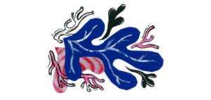 Ozdobna ilustracja - fantazyjne kształty przypominające rośliny.