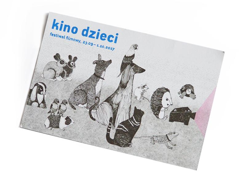 """Ulotka festiwalu """"Kino dzieci"""" z ilustracją przedstawiającą różne zwierzęta."""