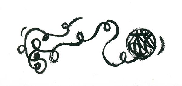 Ilustracja przedstawia kłębek z wystającą, wijącą się linką.