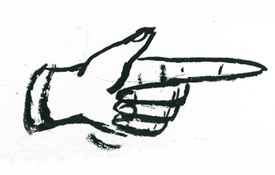 Palec wskazujący na tekst - ilustracja uzupełniająca