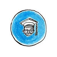 Prawa autorskie - prawo cytatu. Na ilustracji - głowa w czapce absolwenta akademii.