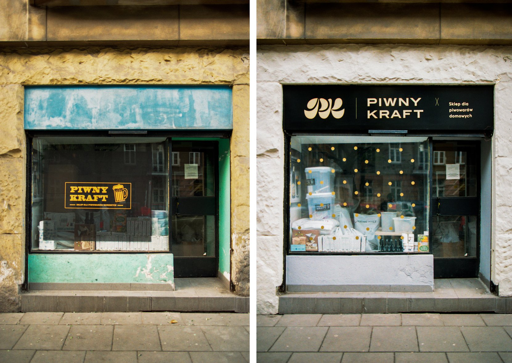 """Na zdjęciach widać starszą i nowszą wersję napisu """"Piwny Kraft"""" na witrynie sklepu."""