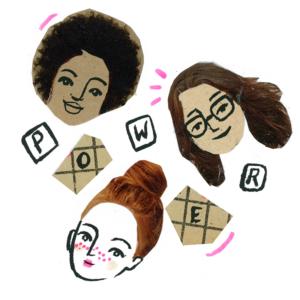 """Iustracja przedstawia trzy twarze o różnych kolorach skóry i ręcznie wymalowane litery, układające się w napis """"power""""."""