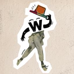Ilustracja ze stworkiem Wyobraźniej. Postać unosi kapelusz. Zamiast głowy ma literkę W.
