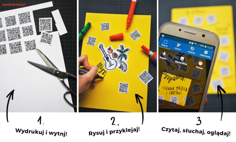 Trzy zdjęcia, pokazujące jak wykonać planszę z QR kodami: wycinanie, rysowanie, używanie.
