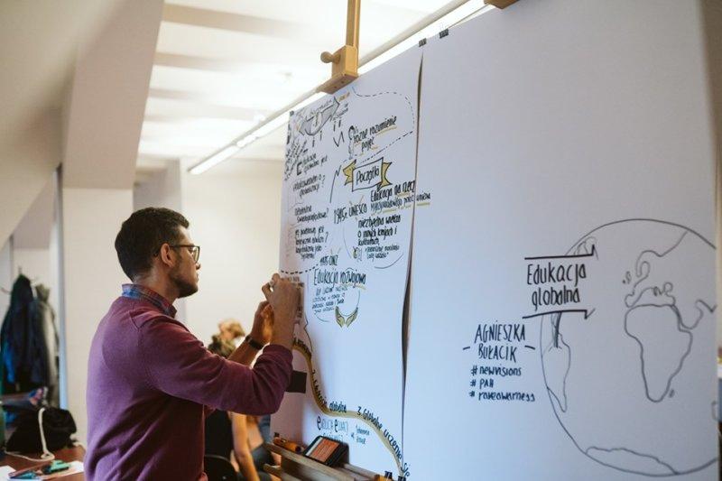 Na fotografii widać osobę robiącą notatki wizualne. Pisze i rysuje na dużych arkuszach papieru.