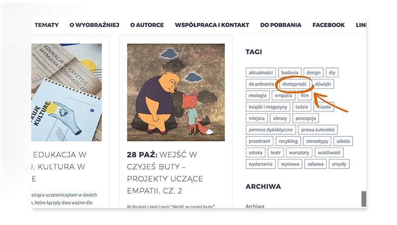 """Zdjęcie pokazuje, w którym miejscu na stronie Wyobraźniej znajduje się tag """"dostępność""""."""