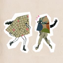 Ilustracja przedstawia dwie postaci - stworki z Wyobraźniej. Jedna mruga i macha ręką do widza.