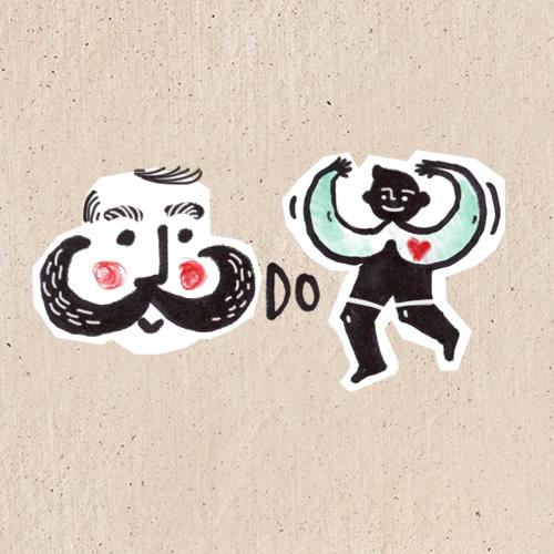 Ilustracja przedstawia dwie trójki - jedna w kształcie męskich wąsów, druga ułożona z rąk radosnego chłopca.