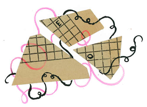 Ilustracja przedstawia splątane abstrakcyjne kształty ze wzorem w kratkę, przypominającym krzyżówkę