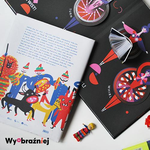 Książki na wyobraźniejowe warsztaty, kolorowe ilustrowane rozkładówki