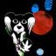 Ilustracja przedstawia małego psa, wparzonego w kadr. W tle - malowane planety.