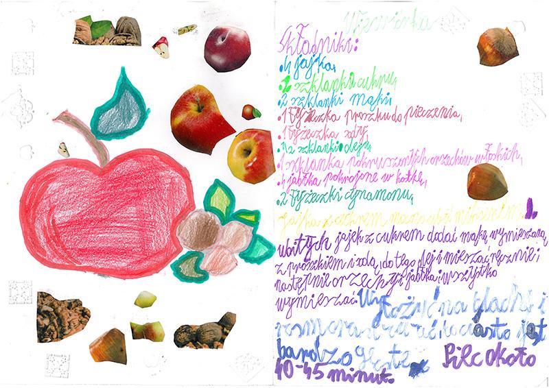 Ręcznie wypisany przez dziecko przepis na ciasto. Wokół tekstu - narysowane jabłka i naklejone zdjęcia orzechów.