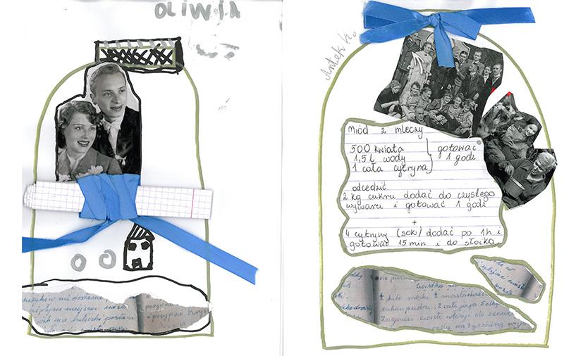 Ilustracje przedstawiające kontury słoików, a w nich - przepisy i stare, rodzinne fotografie.