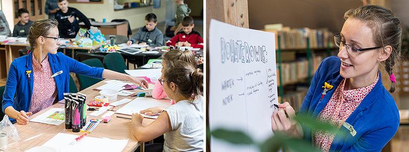Na zdjęciach - ubrana na kolorowo prowadząca zajęcia (czyli ja) pisze coś na planszy, a obok - siedzi przy stole z dziećmi, pomagając w działaniu.