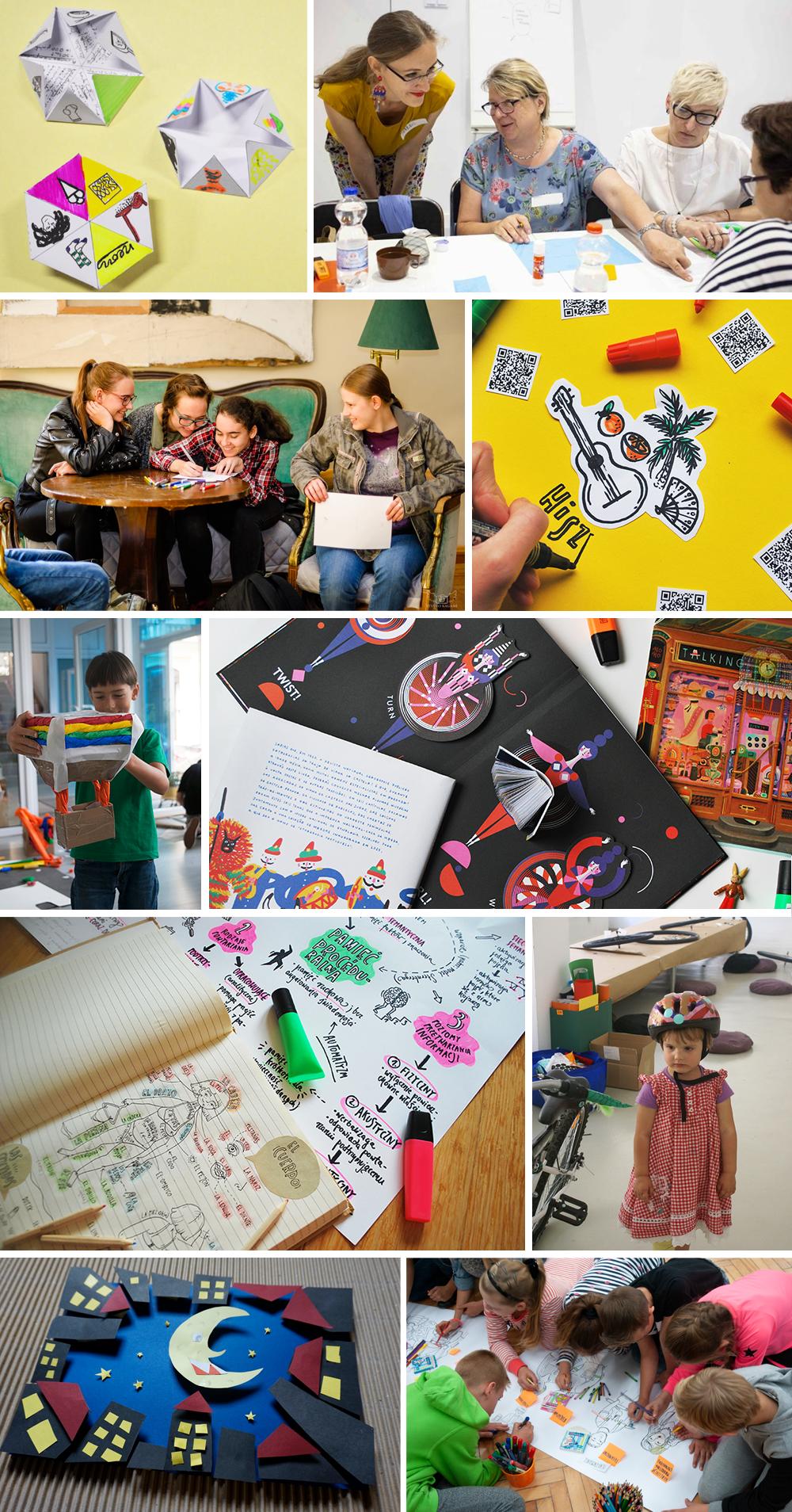 Kolaż ze zdjęć przedstawiający pracę uczestników i uczestniczek warsztatów, kolorowe pomoce dydaktyczne, prace autorki.