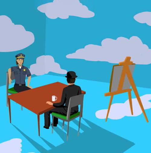 Na ilustracji policjantka przesłuchuje przy stole pana w meloniku. Obok stoi sztaluga, a w tle widać ściany w duże, białe chmury.