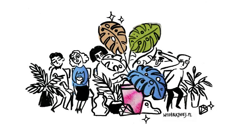 Ilustracja przedstawia publiczność próbującą obejrzeć wydarzenie zza doniczek z roślinami.