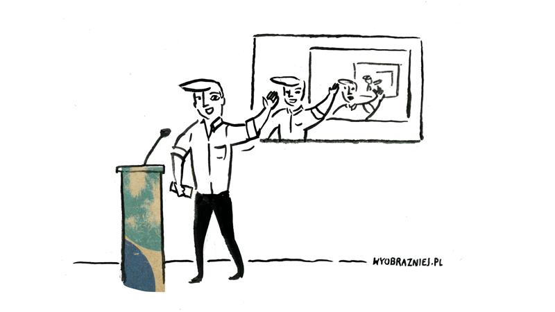 Na ilustracji widać prelegenta pokazującego prezentację, na której widoczny jest on sam, pokazujący prezentację... i tak dalej.