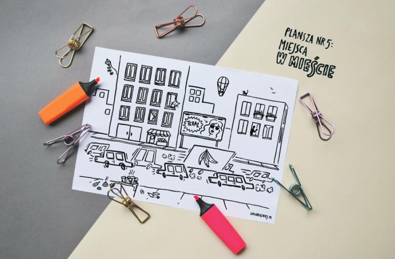 Zdjęcie planszy z ilustracją przedstawiającą miasto