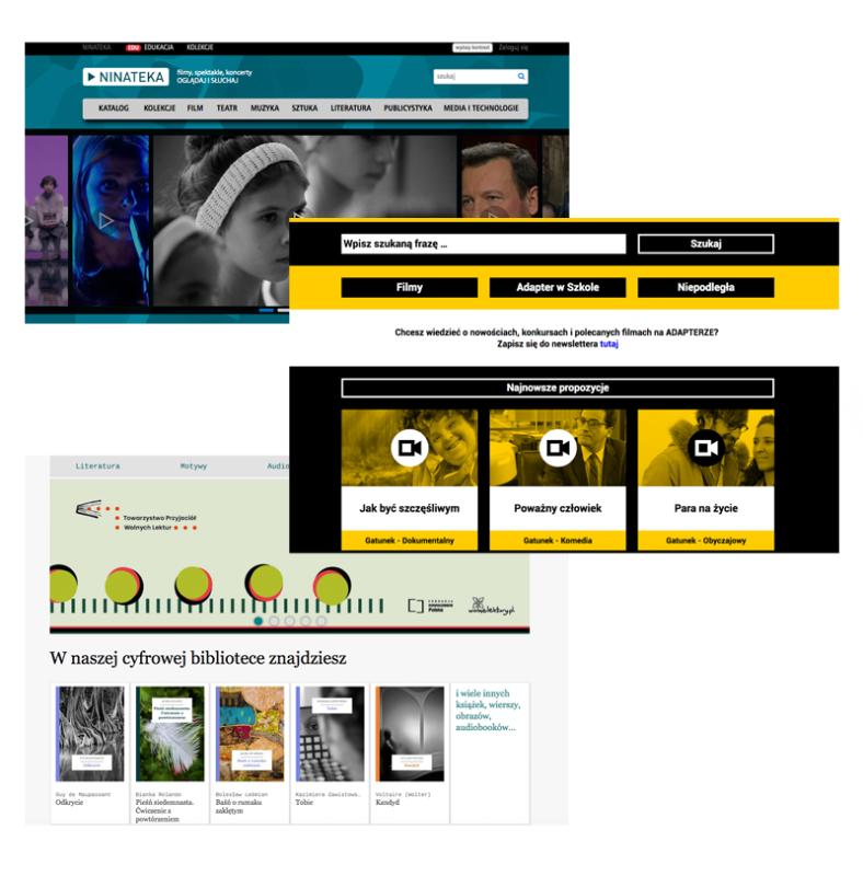 Infografika prezentująca strony główne serwisów: Ninateka, Adapter i Wolne Lektury