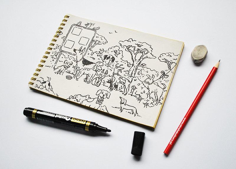 Na zdjęciu - notes, ołówek, marker i gumka. Na karcie notesu widać ilustrację z planszy PSIAKCJA czyli zgraję parkowych piesków.
