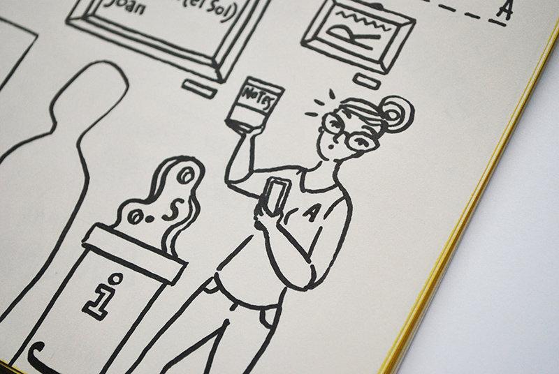 Na ilustracji - postać, która wypadła z akcji #jednaplanszadziennie czyli pani z galerii. W jednej ręce trzyma notes, a w drugiej telefon.