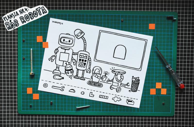 Zdjęcie planszy z robotami.