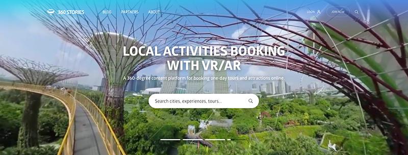 Strona główna portalu 360 stories, z podglądem ogrodów w Singapurze.