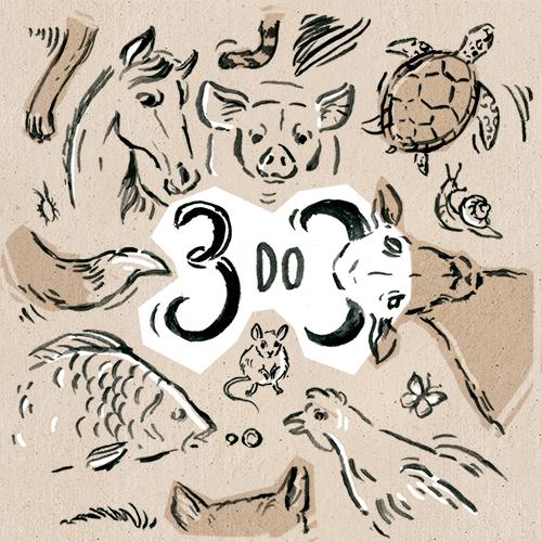 Ilustracja przedstawia napis 3 do 3 w otoczeniu różnych zwierząt.
