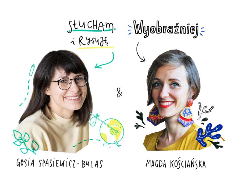 Grafika przedstawia Gosię (Słucham i Rysuję) i Magdę (Wyobraźniej), otoczone rysunkowymi elementami.