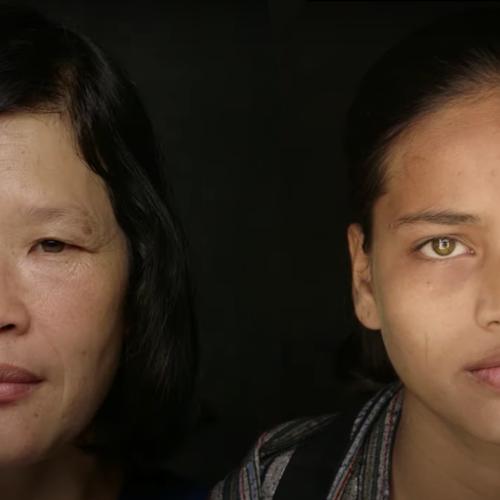 """Na zdjęciu - twarze dziewczynki i kobiety z filmu """"Human"""""""