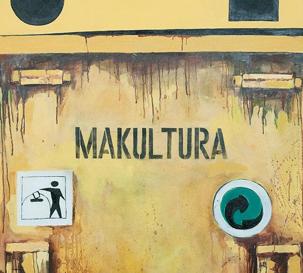 """Obraz przedstawia żółty kontener na śmieci z napisem """"Makultura"""""""