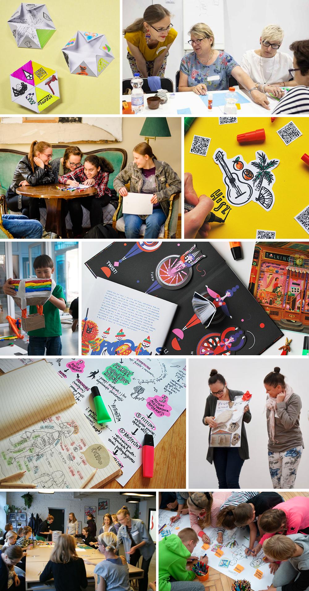 Kolaż ze zdjęć przedstawiających warsztaty, notatki graficzne i pomoce edukacyjne.